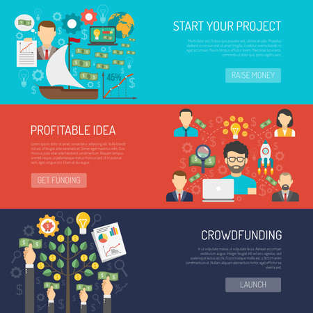 Crowdfunding horizontal banner set with startup idea and investment elements isolated vector illustration