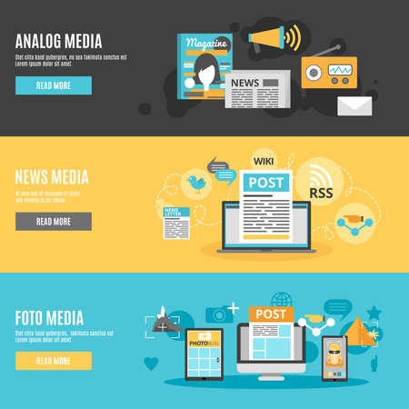 Media and press horizontal banners set with photo analog and news media symbols flat isolated vector illustration