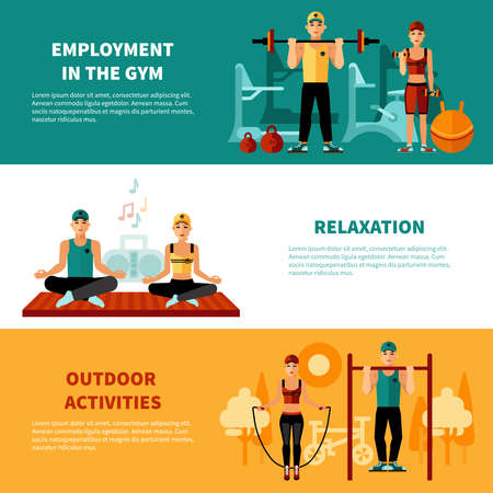 Fitness flat horizontal banners set with gym training relaxation exercises and outdoors activity compositions vector illustration Ilustración de vector