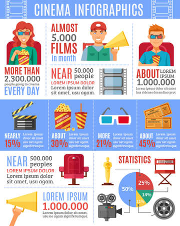 Cinema infographics design elements for presentation layout with viewers icons data production and movie statistics vector illustration