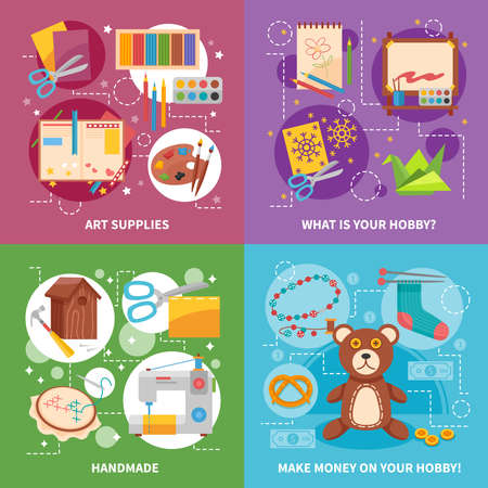 Hobby 2x2 design concept with handicraft items art supplies soft toy and tools for handmade flat vector illustration