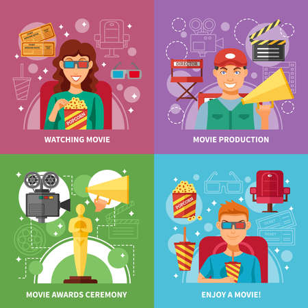 Cinema 2x2 flat design concept set of movie production watching and awards ceremony with director viewers and oscar figurine vector illustration