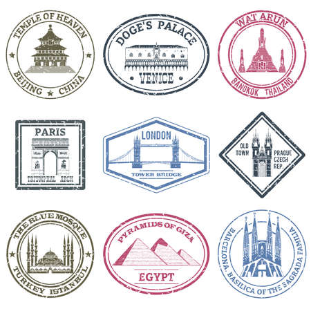 Monuments and famous world landmarks stamps set isolated vector illustration
