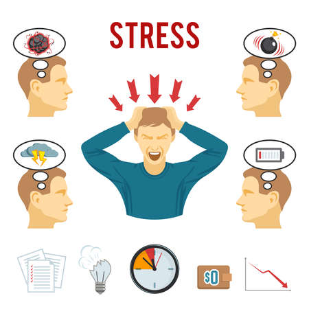 Mental health disorders and work related stress anxiety and depression symptoms icons set abstract isolated vector illustration
