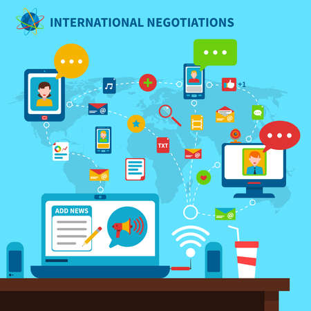 International negotiations background with laptop table and map flat vector illustration