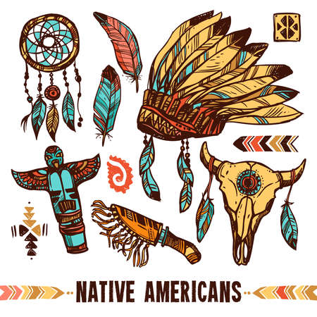 Native american style skull tambourine war bonnet with feathers color decorative icon set isolated vector illustration