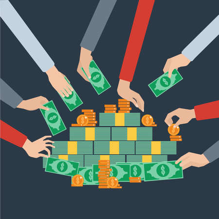Grabbing and taking hold on money long hands pictograms radial composition flat background poster abstract vector illustration