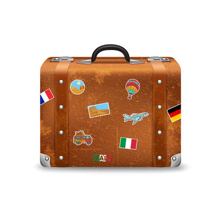 Old style voyage suitcase with travel stickers realistic vector illustration Ilustración de vector