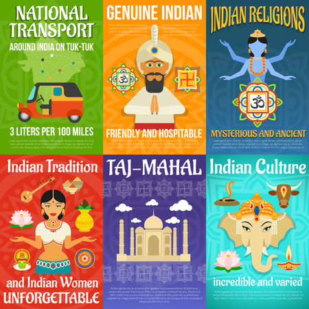 India poster mini set with national transport religions and culture isolated vector illustration