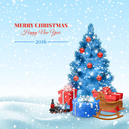 Christmas tree with toys and gift boxes postcard vector illustration