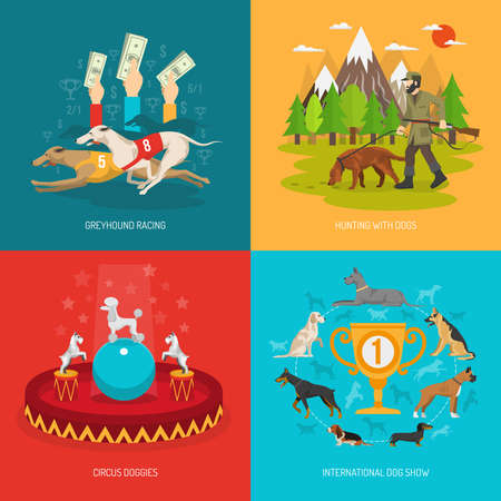 Dog breeds design concept set with circus racing and hunting animals flat icons isolated vector illustration