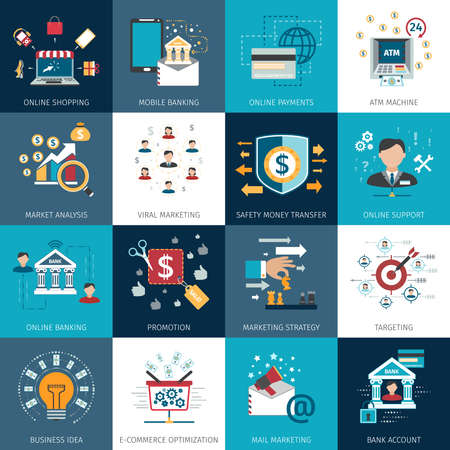 Online internet banking secure payments options with commercial market analysis flat icons set abstract isolated vector illustration