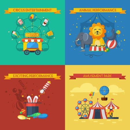 Circus design concept set with animal performance flat icons isolated vector illustration
