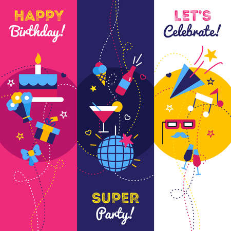 Celebration party and birthday banners with gifts petard bottle of champagne and cake with candles isolated vector illustration Stock Illustratie