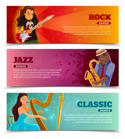 Rock festival jazz and classic music concert with performing harpist flat banners set abstract isolated vector illustration Vektoros illusztráció
