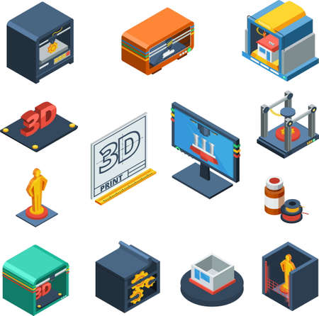 3D printing technological process isomeric icons with software prototype scanning and object manufacturing abstract isolated vector illustration
