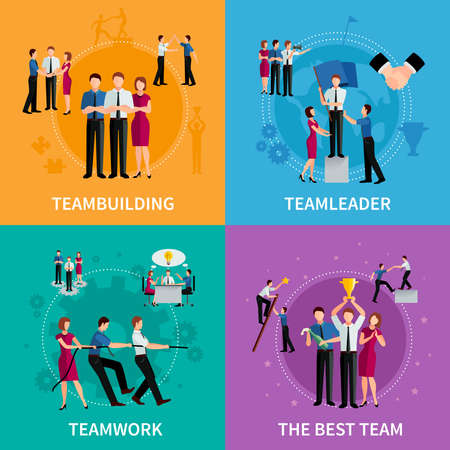 Teamwork 2x2 design concept set of corporate business compositions with men and women flat vector illustration