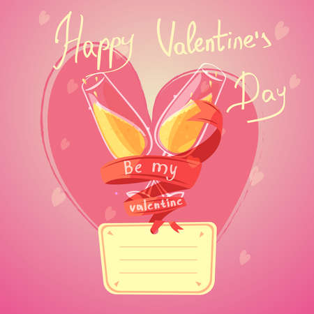 Valentine day retro cartoon with glasses of champagne and heart on background vector illustration Vektoros illusztráció