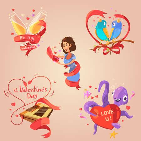 Valentine day retro cartoon set with love congratulations labels isolated vector illustration Vektoros illusztráció