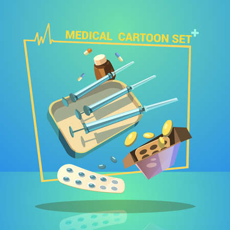 Medicine and treatment cartoon set with pills capsules and syringes vector illustration
