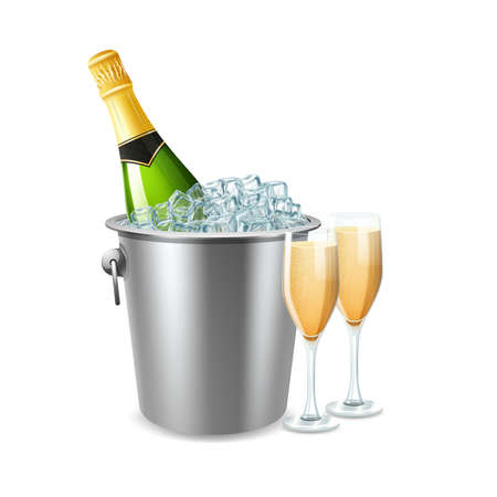 Champagne bottle in ice bucket and two full glasses realistic vector illustration