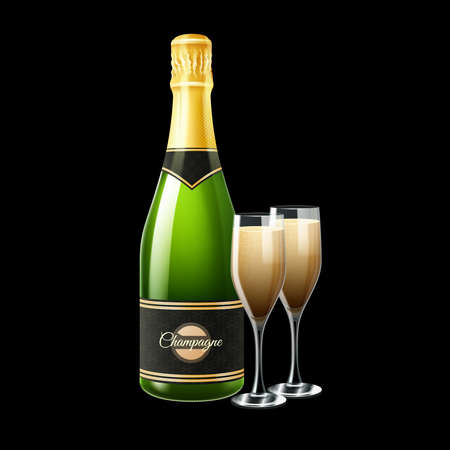 Champagne bottle and two glasses on black background realistic vector illustration Stock Illustratie