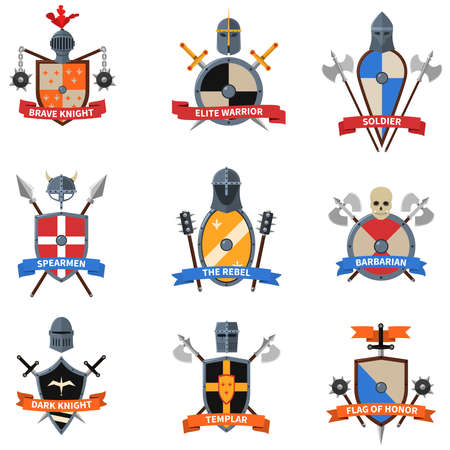 Legendary knights warriors coats of arms emblems flat labels collection with heraldic shields abstract isolated vector illustration