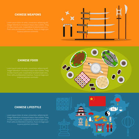 Chinese horizontal banners set with weapons food and lifestyle symbols flat isolated vector illustration Illusztráció