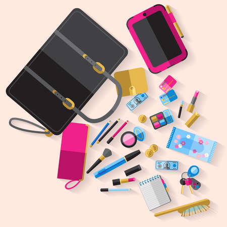 Woman open handbag content with makeup items cosmetic case smartphone purse and beauty accessories abstract vector illustration