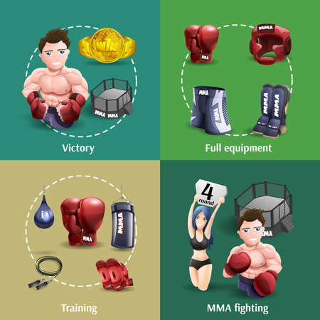 Mma fighting training full equipment and champion 4 3d icons square composition banner abstract isolated vector illustration