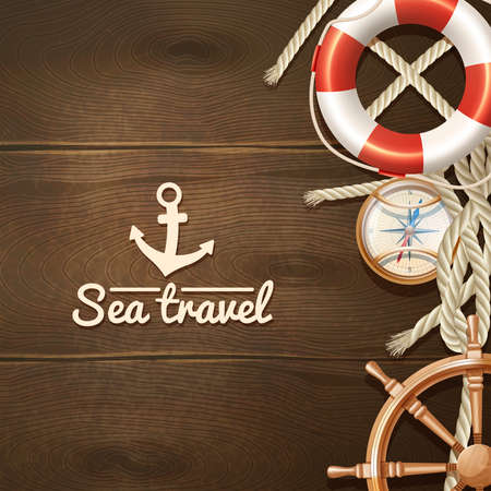 Sea travel and sailing realistic background with life buoy compass and helm vector illustration