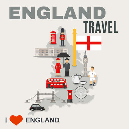 Albion island travel misty grey map of england poster with sightseeing places and cultural symbols vector illustration