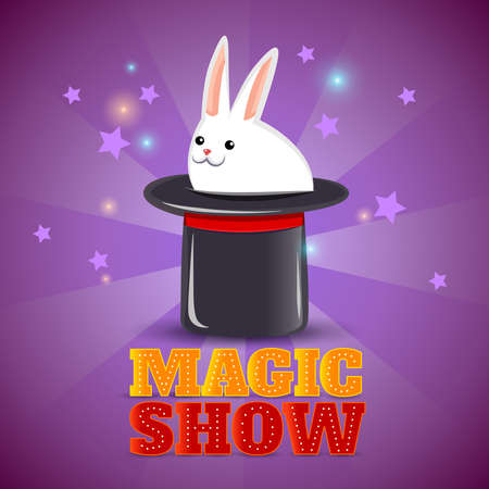 Travelling circus performance advertisement background poster with magical rabbit in the hat trick abstract isolated vector illustration