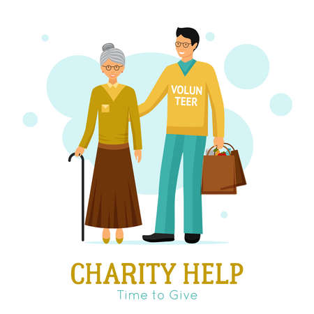 Charity organization flat poster with volunteer helping old woman with daily tasks abstract vector illustration
