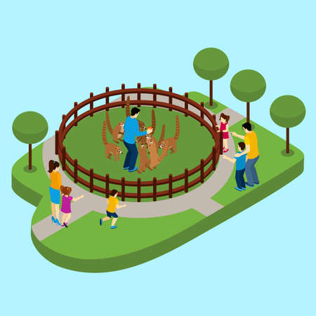 Contact zoo with people and lemurs on blue background isometric vector illustration