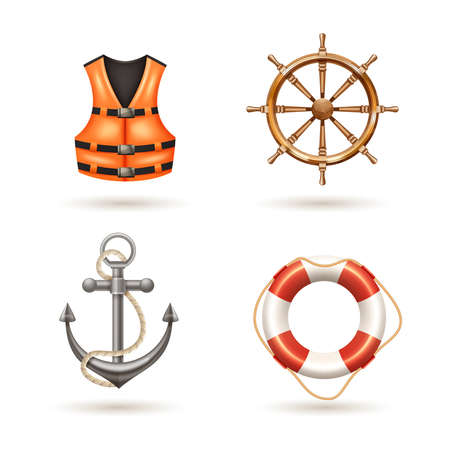 Marine realistic icons set with anchor life buoy life jacket and helm isolated vector illustration