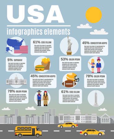 Infographic presentation USA basic cultural and historical background Information layout flat poster design abstract vector illustration