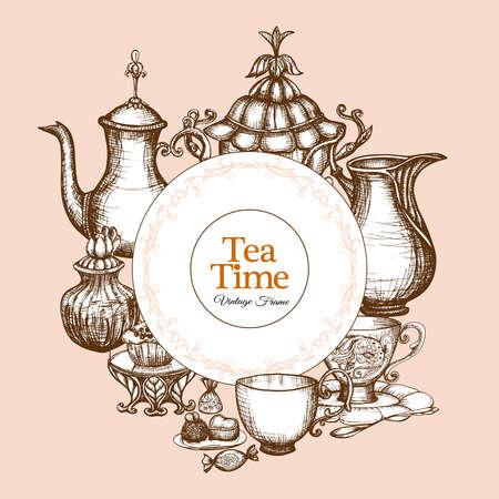 Vintage tea frame with traditional sketch kitchen utencil vector illustration