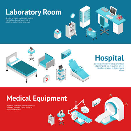 Hospital medical laboratory equipment 3 horizontal banners set with text and isometric pictograms abstract isolated vector llustration