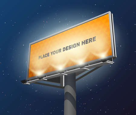 Place your design here prominent advertisement billboard against lighted yellow and visible at night abstract vector illustration
