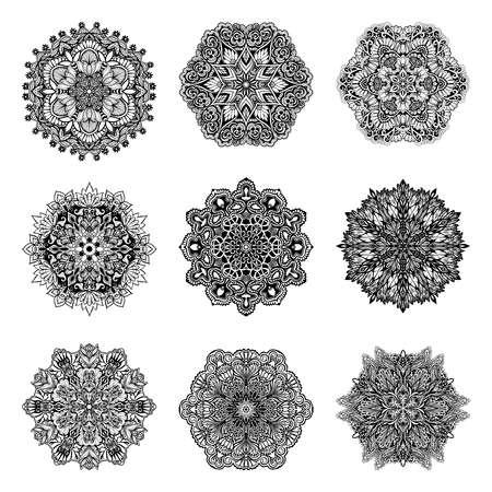 Decorative black and white mandala symbols set isolated vector illustration