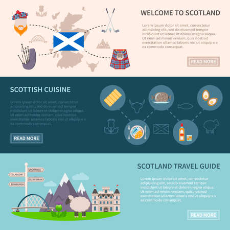 Scotland horizontal banners set with food drink and travel symbols flat isolated vector illustration