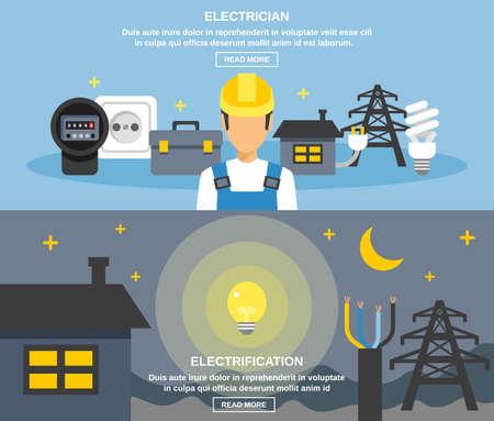 Electricity and power horizontal banners set with electrification symbols flat isolated vector illustration Ilustracje wektorowe