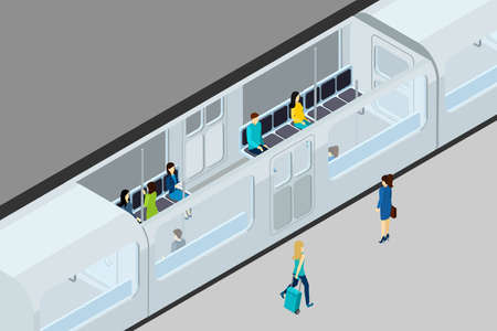 Underground people and train with train interior and seats isometric vector illustration