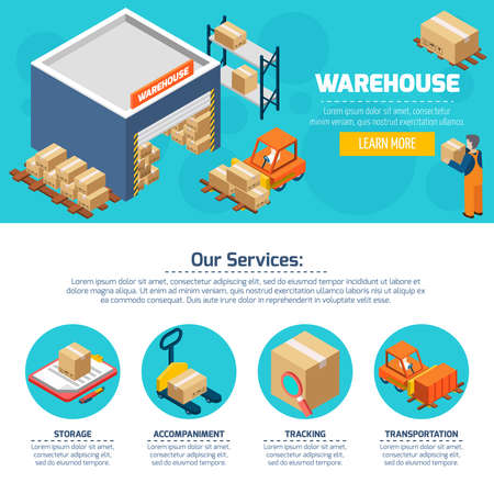 One page of warehouse web site with titles and color icons about different services