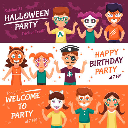 Party With Greasepaint Flat Concept. Painted Faces Horizontal Banners. Children With Painted Faces Vector Illustration. Makeup For Children Isolated Set. Greasepaint For Kids Design Symbols.