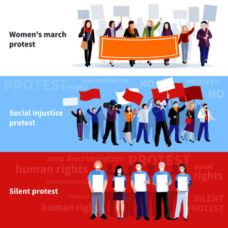 Demonstration womens march social injustice and silent protest people with megaphones placards and flags flat banners isolated vector illustration