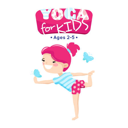 Online yoga classes for little children in blue pink cartoon style logo with smiling kid abstract vector illustration
