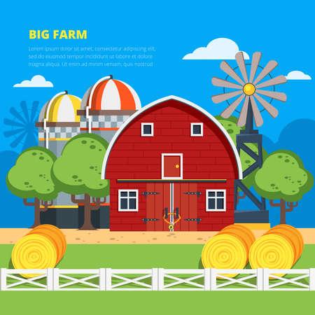 Big farm flat colorful composition with wooden village house haystacks elevator wind turbine vector illustration
