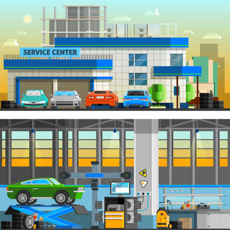 Auto service flat horizontal banners with parking near service center building and  workshop indoor interior with equipment for diagnostics and repair automobiles vector illustration 向量圖像